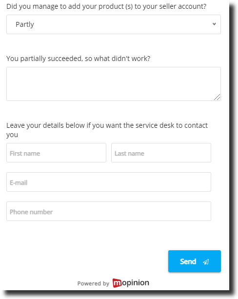 GCR feedback form for sellers in marketplace