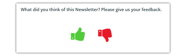 Thumbs icon in newsletter email survey