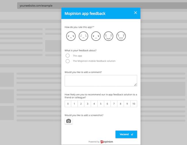 Voorbeeld in-app feedback
