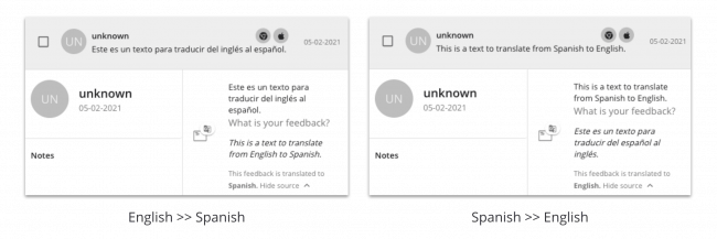 Translated feedback comments