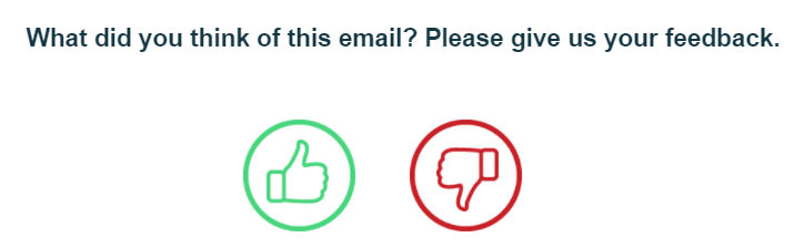 Email feedback buttons