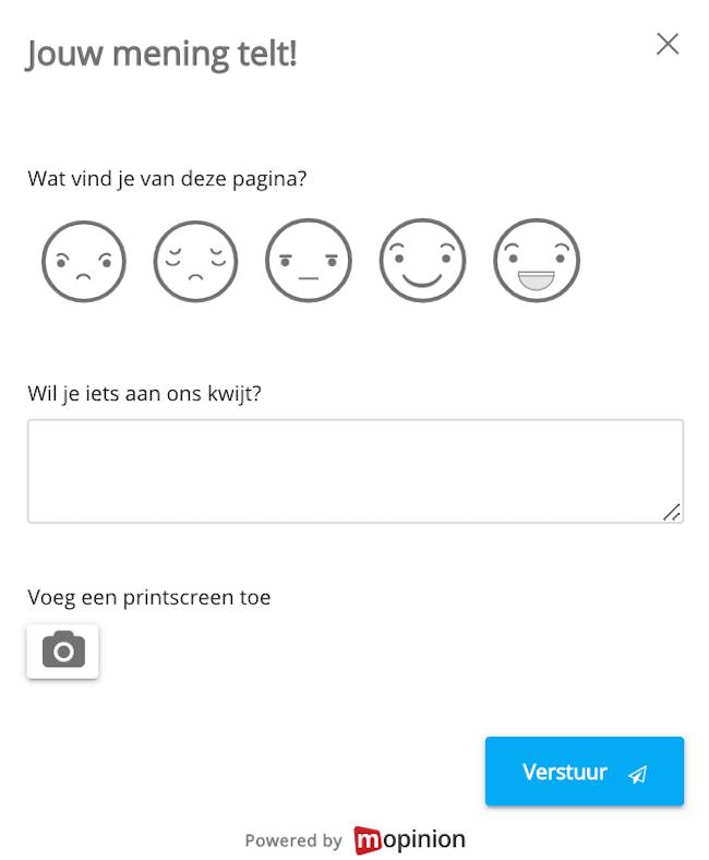 website feedbackformulier tevredenheid