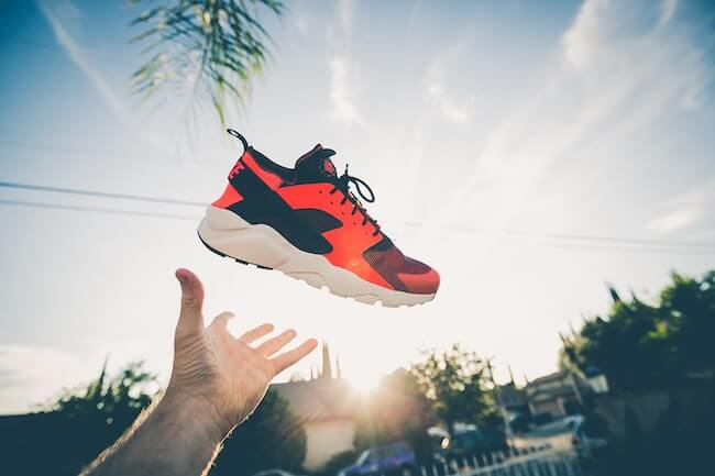 sneaker in the air