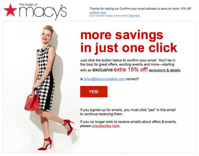 Macys email opt-in example