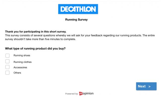 Decathlon email feedback survey