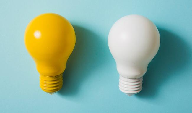 yellow-white-light-bulb-blue-background