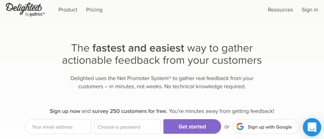 Delighted product feedback software