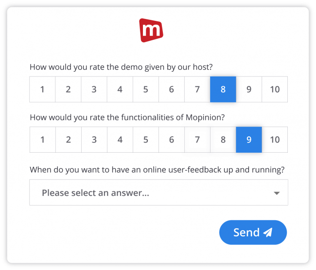 Demo feedback form